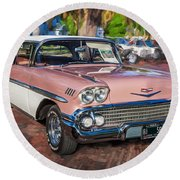 1958 Chevrolet Bel Air Impala Painted  Round Beach Towel