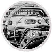 1958 Chevrolet Impala Steering Wheel Round Beach Towel