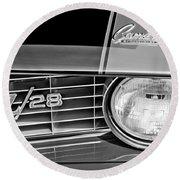 1969 Chevrolet Camaro Z 28 Grille Emblem Round Beach Towel