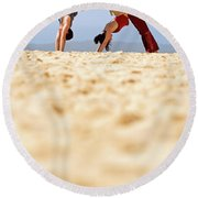 A Man And Woman Practicing Yoga Round Beach Towel