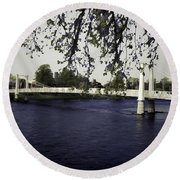 A Wonderful Suspension Bridge Over The River Ness In Inverness Round Beach Towel