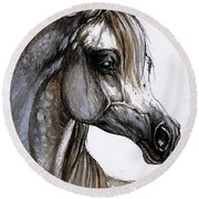 Arabian Horse Round Beach Towel