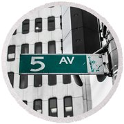 5 Ave. Sign Round Beach Towel