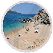 Beach In Legrena Round Beach Towel