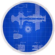 Beer Tap Patent 1876 - Blue Round Beach Towel