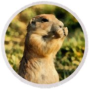 Black-tailed Prairie Dog Round Beach Towel