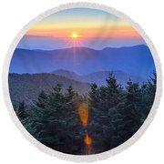 Blue Ridge Parkway Autumn Sunset Over Appalachian Mountains  Round Beach Towel