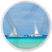 5 Boats In A Row Round Beach Towel