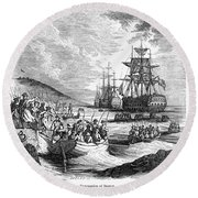 Boston: Evacuation, 1776 Round Beach Towel