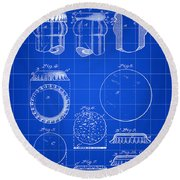 Bottle Cap Patent 1892 - Blue Round Beach Towel