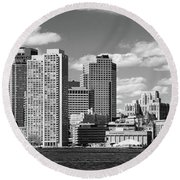 Buildings At The Waterfront, Boston Round Beach Towel