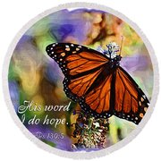 Butterfly Scripture Round Beach Towel