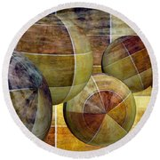 5 By 5 Gold Worlds Round Beach Towel