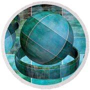 5 By 5 Ocean Geometric Shapes Round Beach Towel