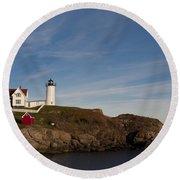 Cape Neddick Lighthouse Round Beach Towel
