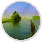 Captain Of The Houseboat Surveying Canal Round Beach Towel