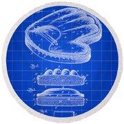 Catcher's Glove Patent 1891 - Blue Round Beach Towel