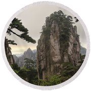 Chinese White Pine On Mt. Huangshan Round Beach Towel