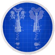 Corkscrew Patent 1886 - Blue Round Beach Towel