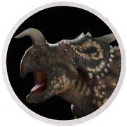 Dinosaur Einiosaurus Round Beach Towel