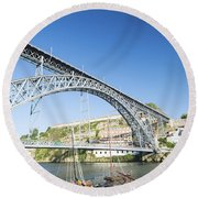 Dom Luis Bridge Porto Portugal Round Beach Towel