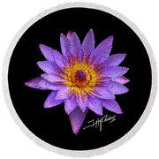 Dots Of Flowers Round Beach Towel