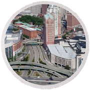 Downtown Providence Rhode Island Round Beach Towel