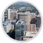 Downtown Skyline Of Wilmington Round Beach Towel