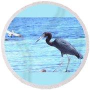 Egret Round Beach Towel