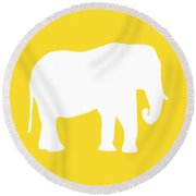 Elephant In Golden And White Round Beach Towel