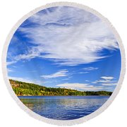 Fall Forest And Lake Round Beach Towel