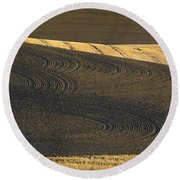 Farm Fields Round Beach Towel