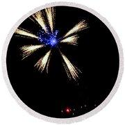 Fireworks In Neon Round Beach Towel