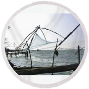 Fishing Nets On The Sea Coast In Alleppey Round Beach Towel
