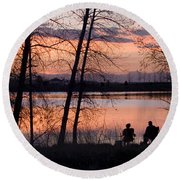 Fly Fishing At Sunset Round Beach Towel