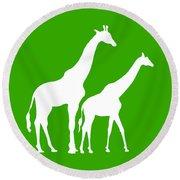 Giraffe In Green And White Round Beach Towel