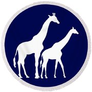 Giraffe In Navy And White Round Beach Towel