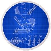 Golf Iron Patent 1914 - Blue Round Beach Towel