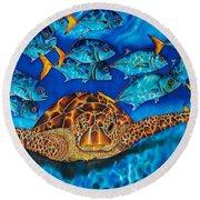 Green Sea Turtle Round Beach Towel