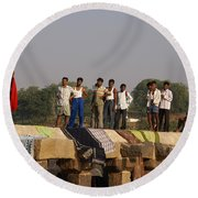 Hampi Ghats Round Beach Towel