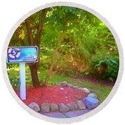 5 Hole Sign On  Golf Course 2 Round Beach Towel