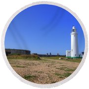 Hurst Point Lighthouse Round Beach Towel