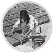 Indians Making Adobe Bricks Round Beach Towel