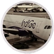 Indigo Aircraft Getting Ready In Changi Airport Round Beach Towel