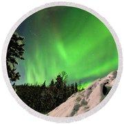 Intense Display Of Northern Lights Aurora Borealis Round Beach Towel