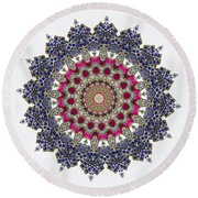 Kaleidoscope Colorful Jeweled Rhinestones Round Beach Towel