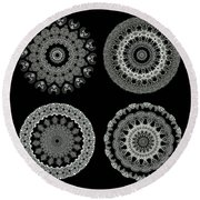 Kaleidoscope Ernst Haeckl Sea Life Series Black And White Set 2  Round Beach Towel