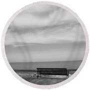 Lake And Park Bench Round Beach Towel