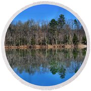 Lake Reflections Round Beach Towel