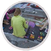 Lake Worth Street Painting Festival Round Beach Towel